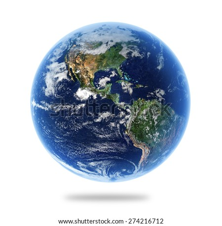 Isolated Earth with Depth of Field Effect - Elements of this Image Furnished by NASA - stock photo