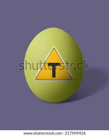 isolated egg with transgenic symbol - stock photo