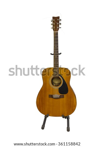 Isolated electric classic guitar on white with clipping path