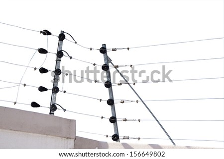 Isolated Electric Fence Installation On Boudary Stock Photo (Royalty ...