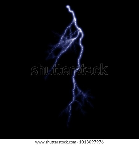 Isolated electrical lightning strike visual effect on black background.