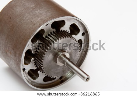 Isolated electrical motor detail - stock photo