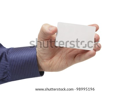 isolated empty business cards in a man's hand. Just add your text - stock photo