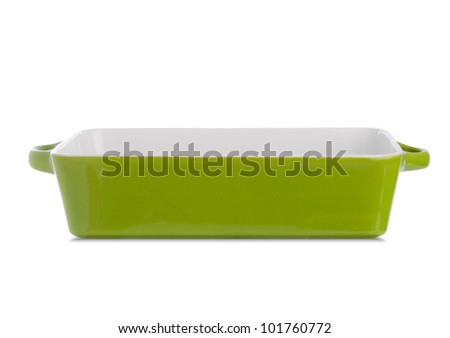 Isolated empty casserole from side. - stock photo