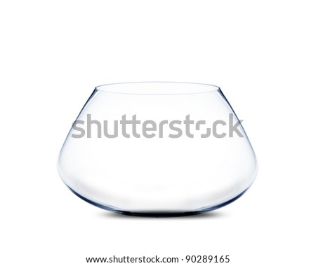isolated Empty fishbowl without water in front of white background. - stock photo