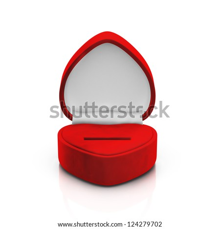 Isolated empty red ring box on white background - stock photo