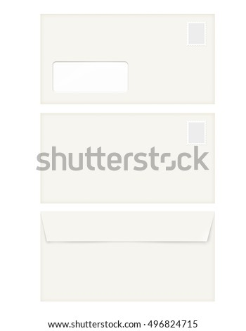 isolated empty window envelope template stamp stock illustration
