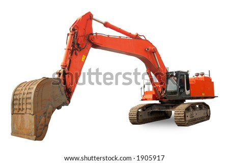 Isolated Excavator with operating weight of 198 000 lb / 90 000 kg - stock photo