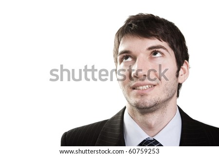Isolated face of business man looking up for inspiration