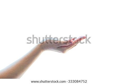 Isolated female beautiful empty open human hands with palm raised upward in holding posture on white background: Pray for support and help concept: Humanitarian aid and human rights concept
