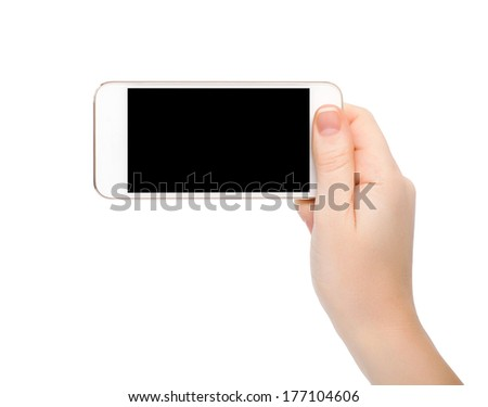 isolated female hand holding white touch phone with a black screen