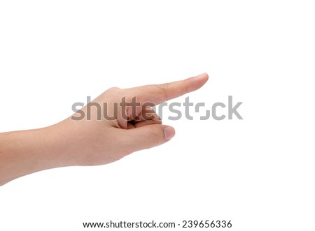 Isolated female hand pointing to something - stock photo