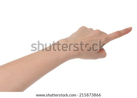 Isolated female hand touching or showing something with index finger isolated on white - stock photo