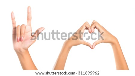 Isolated female hands express different emotions. - stock photo