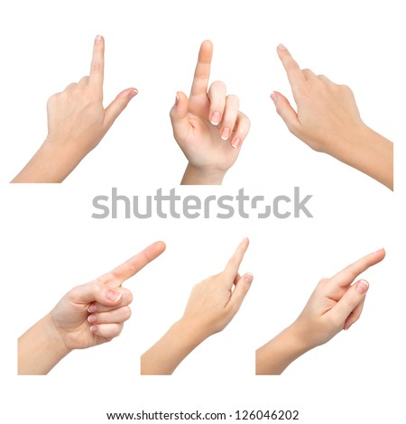 isolated female hands touch or click to something