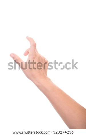 isolated female hands touch or click to something - stock photo