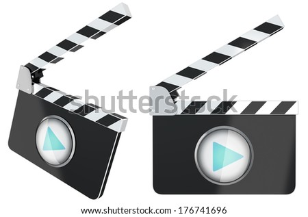 Isolated film slate like video player - stock photo
