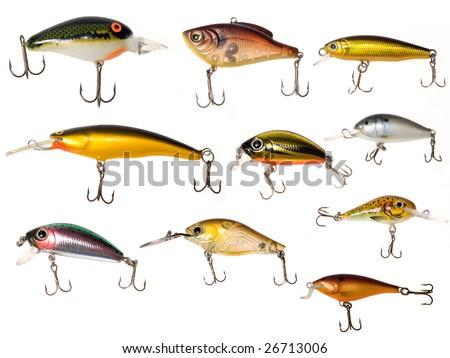 isolated fishing baits - stock photo