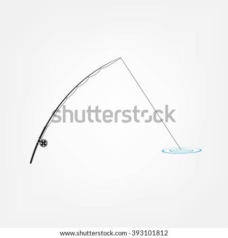 isolated fishing rod - stock photo