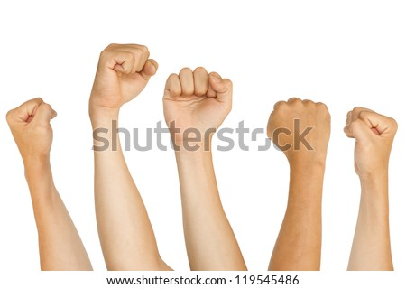 isolated fists, for protest, support, fighting concepts. - stock photo