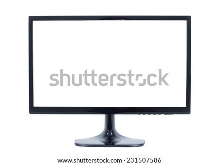 isolated flat screen tv - stock photo