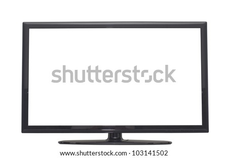 isolated flat screen tv, or computer monitor with 2 clipping path in jpg. One clipping path is tv outline, the other one is the screen. - stock photo
