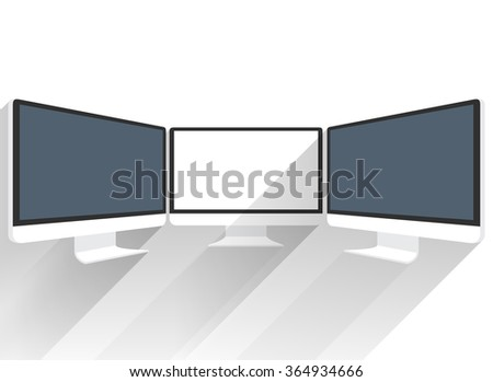 Isolated flat screen white picture. Black LCD screen sideview. Black LCD monitor presentations. Display monitor perspective vector mockup. Realistic computer monitor. Device mockups. Computer monitor - stock photo