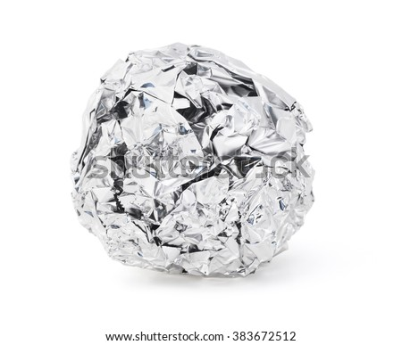 Isolated foil ball on a white background. - stock photo