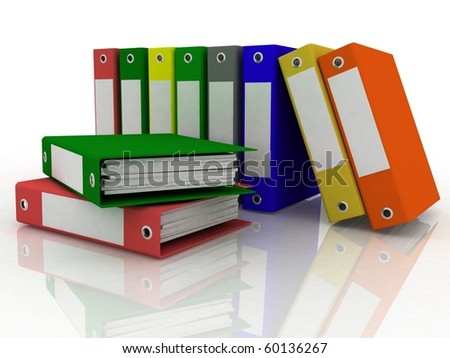 Isolated folders for papers on a white background - stock photo