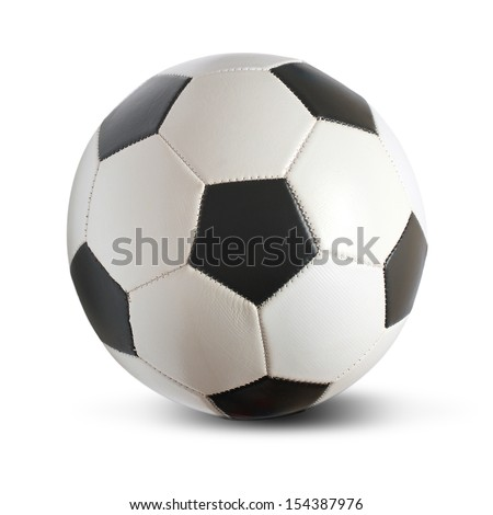 Isolated football - or soccer ball - on a white background - stock photo