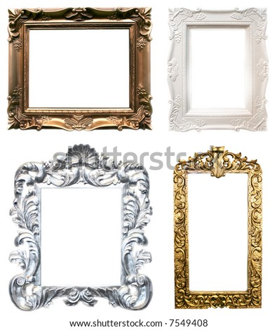 isolated frames in classic style in four colors - stock photo