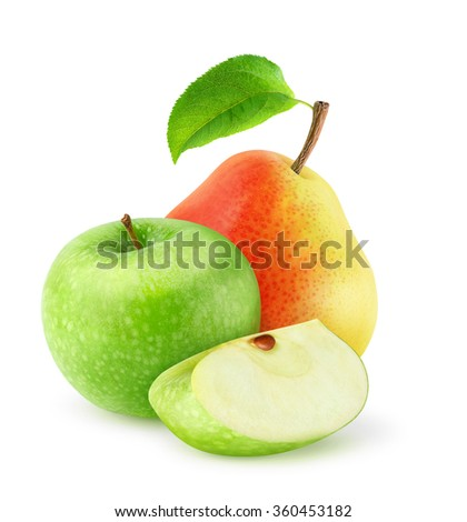 Isolated fresh fruits. Cut green apple and pear isolated on white background with clipping path - stock photo