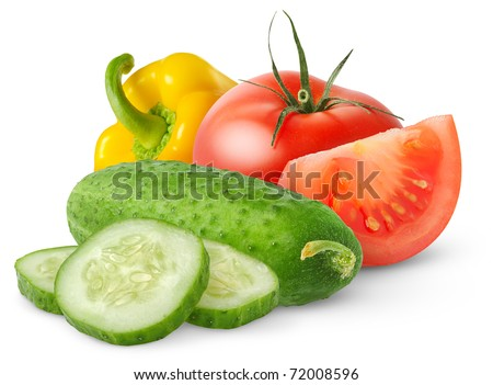 Isolated fresh vegetables. Salad ingredients (cut tomato, cucumber and bell pepper) isolated on white background