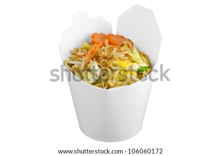 Isolated fried noodle in takeaway box - stock photo