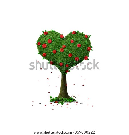 Isolated from background tree Heart with roses  - stock photo