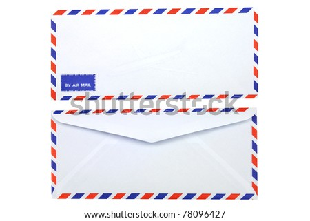 Isolated front and back of air mail envelope - stock photo