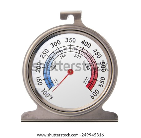 Isolated front picture of an oven thermometer.