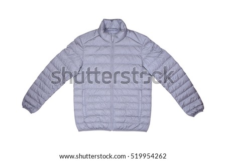 Isolated front view gray down jacket on wooden background