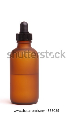 Isolated Frosted Amber Bottle