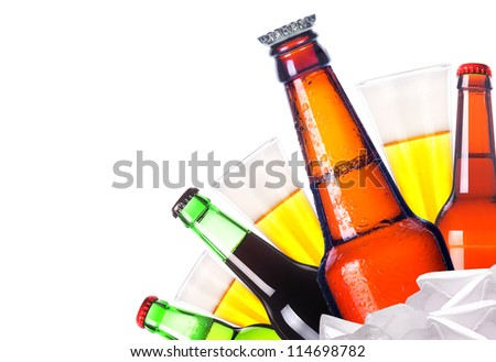 isolated Frosty beer set with kings bottle of beer on a white background - stock photo
