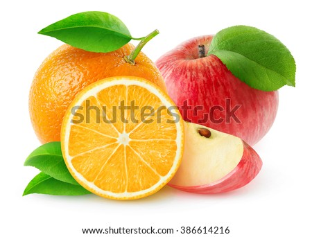 Isolated fruits. Cut red apples and orange fruits isolated on white background with clipping path
