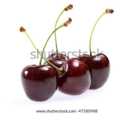 Isolated fruits - Fresh cherries on white background
