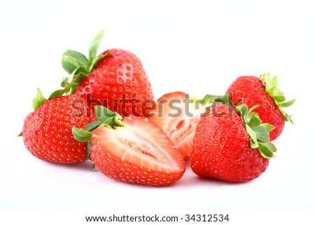 Isolated fruits - Strawberries on white background. - stock photo