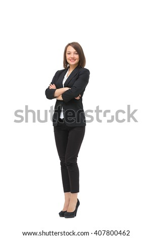 Isolated full-body portrait of a beautiful business woman