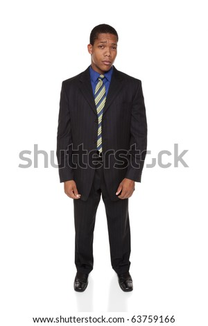 Isolated full length studio shot of a businessman looking at the camera with an incredulous, doubtful expression. - stock photo