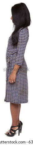 Isolated full length studio shot of the front view of a Latina woman in a dress facing left (part of a 360 rotational series) - stock photo