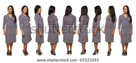 Isolated full length studio shot of the view of a Latina woman in a dress as she rotates by 45 degree angles. - stock photo