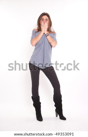 Isolated full portrait of a beautiful brunette with a shocked expression - stock photo