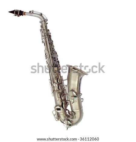 Isolated full view of vintage alto sax, circa 1924 - stock photo