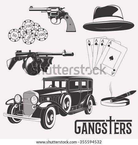 Isolated gangster set image on white background - stock photo